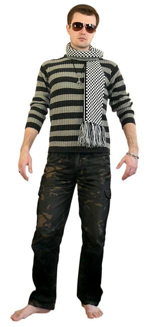 Стильный мужской свитер и шарф.  Подарок мужчине.